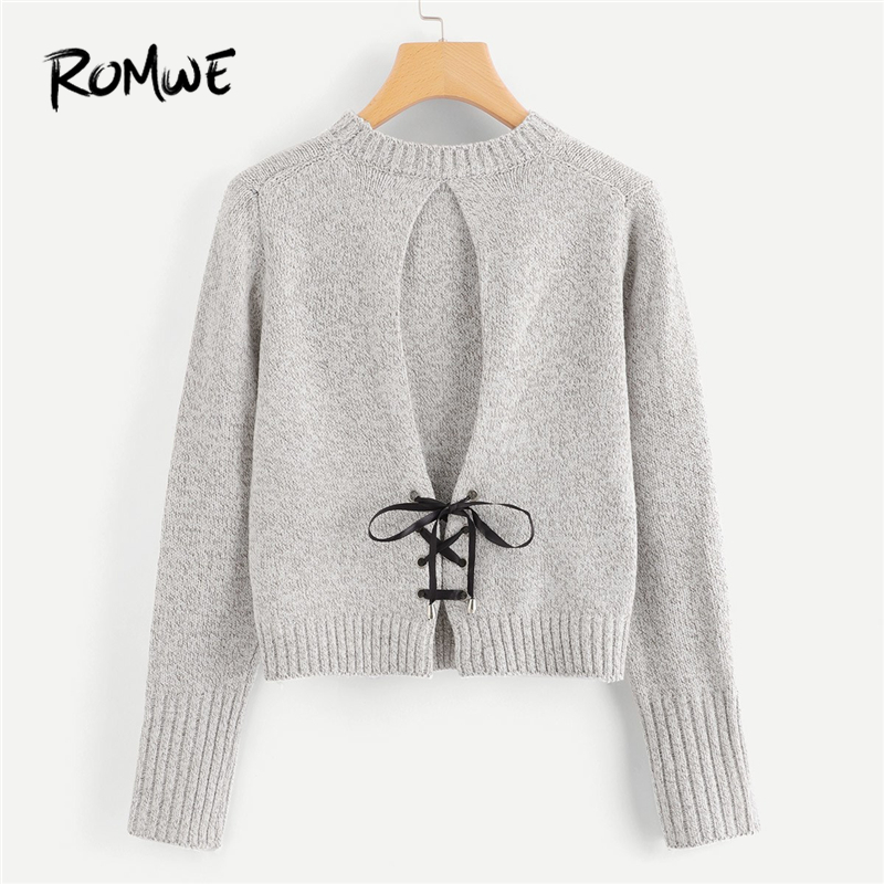 ROMWE Grey Lace Up Back Knit Sweater Women Casual 2019 Autumn Winter Plain Long Sleeve Clothing Female Pullovers Sweater