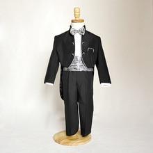 Новое поступление, нарядный костюм на свадьбу с маленьким воротником-стойкой и серебряной каймой для мальчиков, белые смокинги для мальчиков, Детский костюм-смокинг, костюм для маленьких мальчиков, 1150