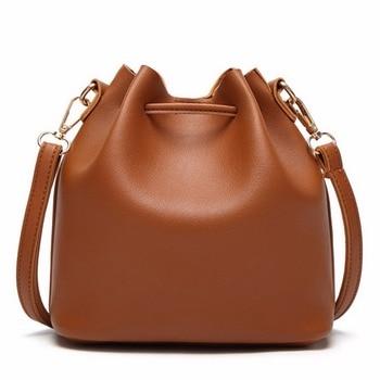 JIARUO Vintage Fashion Small Women Leather Bucket Bag Handbag Tassel Drawstring Shoulder Bag Messenger Crossbody Bags Purses 2