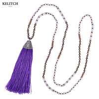 KELITCH Jewelry Good Quality Classic Purple Tassel Pendant Necklace Bib Chain Long Strand Necklace For Party