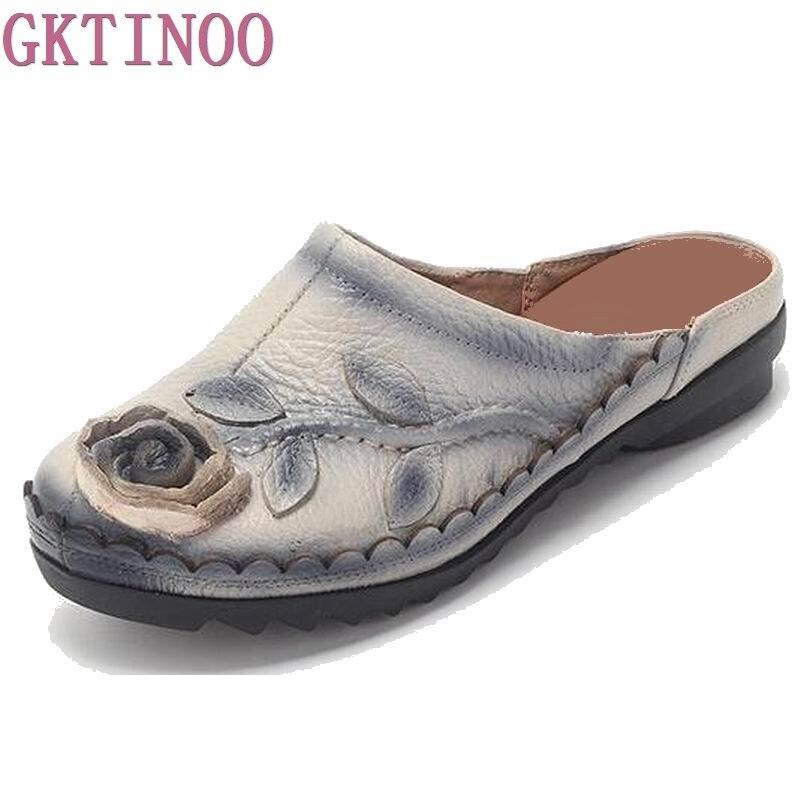 2018 г. летние тапочки из натуральной кожи женская обувь цветок ручной работы удобные женские сандалии на плоской подошве