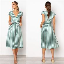Women Summer Striped Printed Short Sleeve Mid Dress 2019 Ladies New Fashion Slim Vintage Dress Sexy V Neck Lace Up Beach Dress lace up striped dress