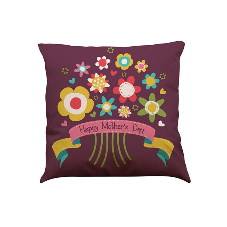 Ouneed I Love You Mom High Qulity Flax Printed Decorative Cushion Cove 43X43cm