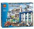 Bela 890pcs City Police Station motorbike helicopter Building Block set crooks Kids Toy
