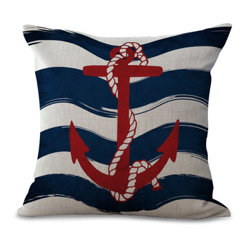 Blue And Red Anchor Cushion