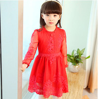 Spring Girl Thin Lace Princess Dress Kids Cotton Mesh Dresses Girls Dress For Party Wedding Dress