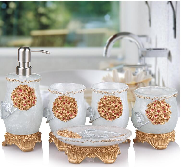 Accessories:  Bathroom toiletries, five-piece bathroom accessories, lotion bottle, toothbrush holder, new wedding items, bathroom products - Martin's & Co