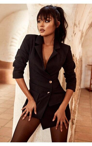Soirée 2018 Gros En Noir De Sexy Hl Pour Femmes Printemps Moulante Automne Vêtements CwRTwqX