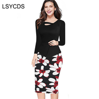 LSYCDS Womens Elegant Slim One Piece Patchwork Work Office Business Dresses Female Full Sleeve Sheath Fitted