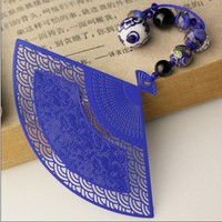 High Quality Hand Made Vintage Fan Metal Bookmarks Bookmarks For Books Blue And White Porcelain Book