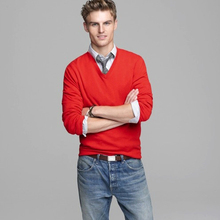 Men V neck long sleeves red/coffee color 100% cashmere knitting 9gg pullover sweater