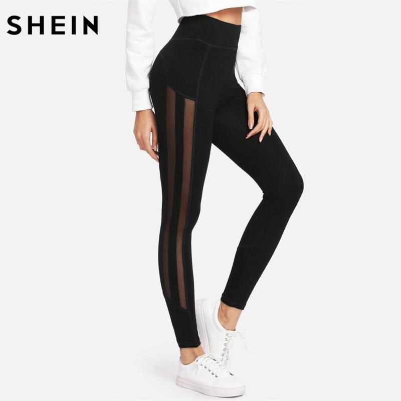 SHEIN Women Workout Leggings Fitness Elastic Leggings Womens Clothing Black Striped Contrast Mesh Panel Leggings