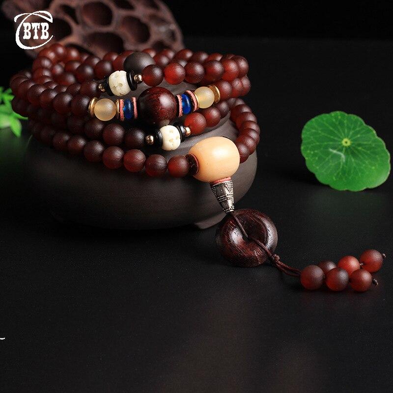 Tibet Natural Red Horn Bracelet 108 Beads Unique Tibetan Ethnic Customs Secret Horn Crafts Mantras Prayer Mala Buddha Bracelet