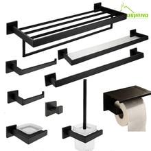 AUSWIND черный квадратный набор аксессуаров для ванной комнаты, настенная черная вешалка для полотенец, крючок для халата, держатель для бумаги, набор аксессуаров для ванной комнаты