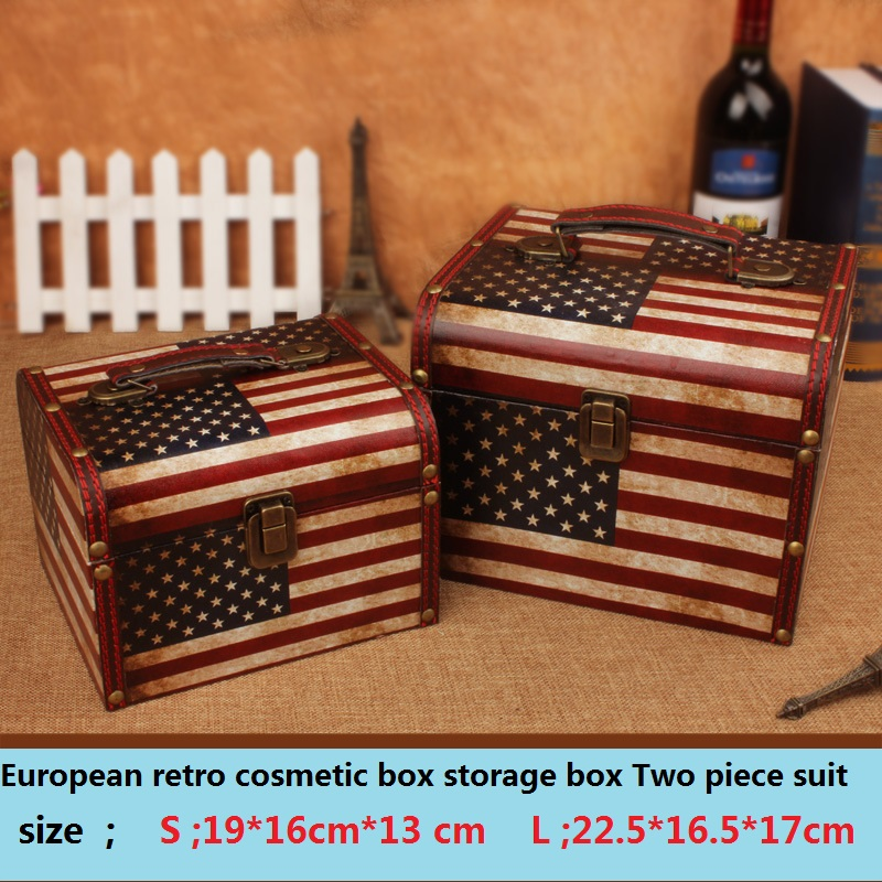 Storage box cajas organizadoras box caixa makeup organizer European retro wooden cosmetic portable storage boxes caixa Two piece
