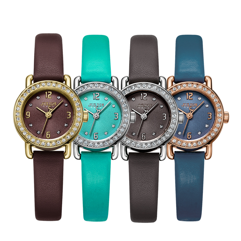 New Fashion Lady Women's Watch Japan Quartz Hours Simple Leather Bracelet Rhinestone Clock Girl's Birthday Gift Julius  1029 new simple cutting glass women s watch japan quartz hours fashion dress stainless steel bracelet birthday girl gift julius box