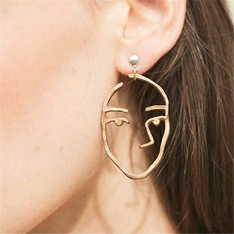 Fashion jewelry personality vintage exaggeration design beauty face drop earrings for women jewelry gift 1227