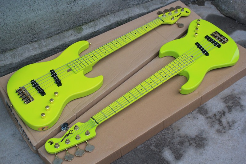 Оптовая продажа с фабрики трава зеленая 5 бас гитара с Уилкинсон мост, золото аппаратными средствами 17 11