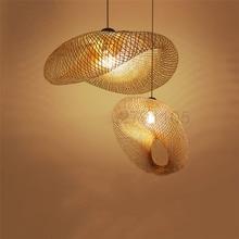 الإبداعية اليدوية الخيزران النسيج مصابيح متدلية الريف مطعم مصابيح معلقة شخصية القهوة بار قلادة led أضواء