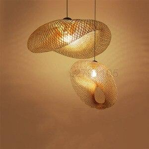 Image 1 - Creativas lámparas colgantes tejidas a mano de bambú, lámparas colgantes para restaurante con personalidad, barra de café, luces colgantes LED