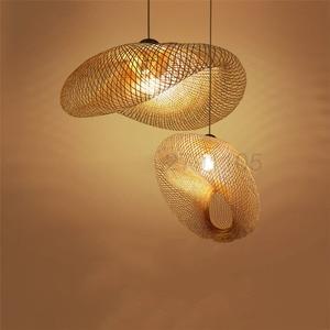 Image 1 - Creative Handmade Bamboo Weaving Pendant Lamps Countryside Restaurant Hanging Lamps Personality Coffee Bar LED Pendant Lights