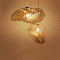 Creative Handmade Bamboo Weaving Pendant Lamps Countryside Restaurant Hanging Lamps Personality Coffee Bar LED Pendant Lights
