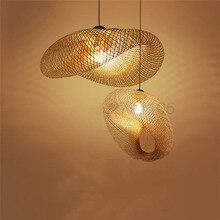 Creative Handmade ไม้ไผ่ทอผ้าจี้โคมไฟชนบทร้านอาหารแขวนโคมไฟบุคลิกภาพกาแฟบาร์ไฟ LED จี้