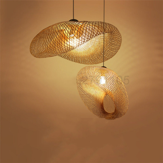 Fatti A Mano creativa di Bambù Tessitura Lampade A Sospensione Campagna Ristorante Lampade A Sospensione Personalità di Caffè Bar LED Lampade a sospensione