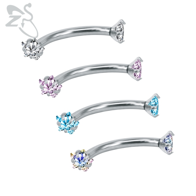 Colorful Cz Crystal Eyebrow Rings Curved Barbell 316 Surgical Steel Piercings Zircon Cartilage Earrings Bar