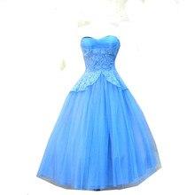 Ballkleid Blau Abendkleid Spitze Top Trägerlosen Tee Länge Formales Kleid für Heimkehr Graduation