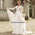 Vintage V Neck Beach Wedding Dress Long Sleeve Lace Chiffon Backless Sexy Wedding Gowns For Bridel Robe De mariage Custom Made