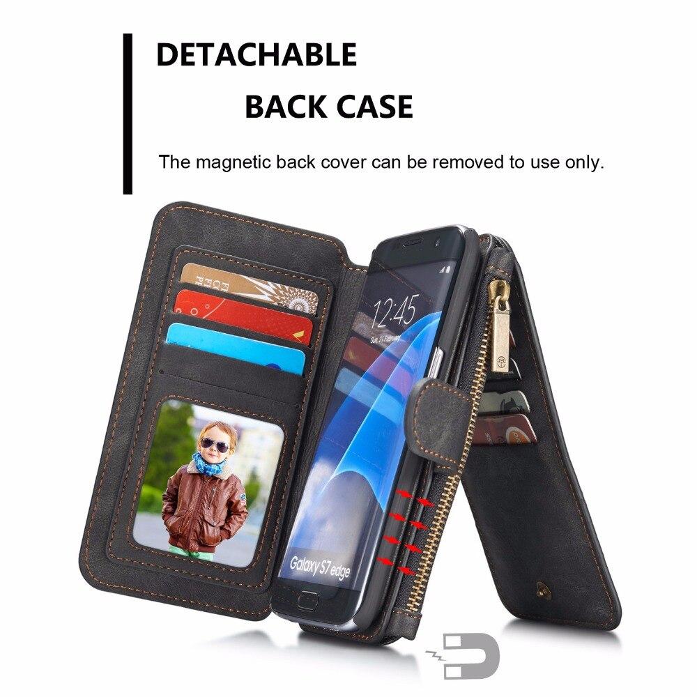 imágenes para CaseMe 2 en 1 caja del teléfono de Lujo de la Carpeta Magnética para Samsung Galaxy nota 5 Borde borde más s7 s8 s6 plus Flip Con Tarjeta titular
