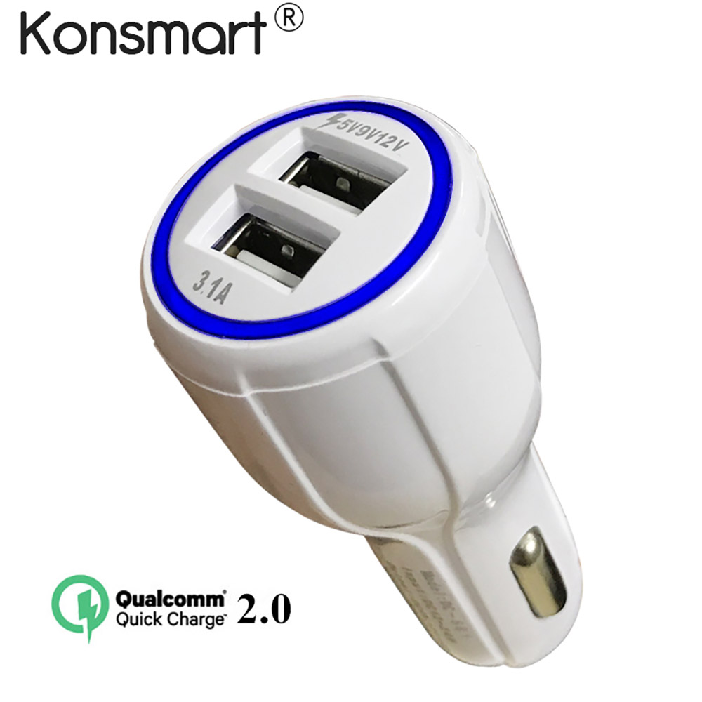 Konsmart Dual USB Car charger Quick 2.0 Car-Charger Travel Adapter Cigar Lighter Fast Charger For Samsung A5 2017 iphone 7 8 X 6