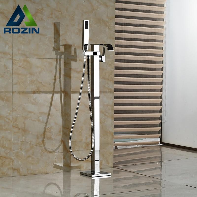 Luxury Single Handle Floor Mount Bathtub Sink Faucet Polished Chrome Freestanding with Handshower Tub Mixer Taps цена и фото