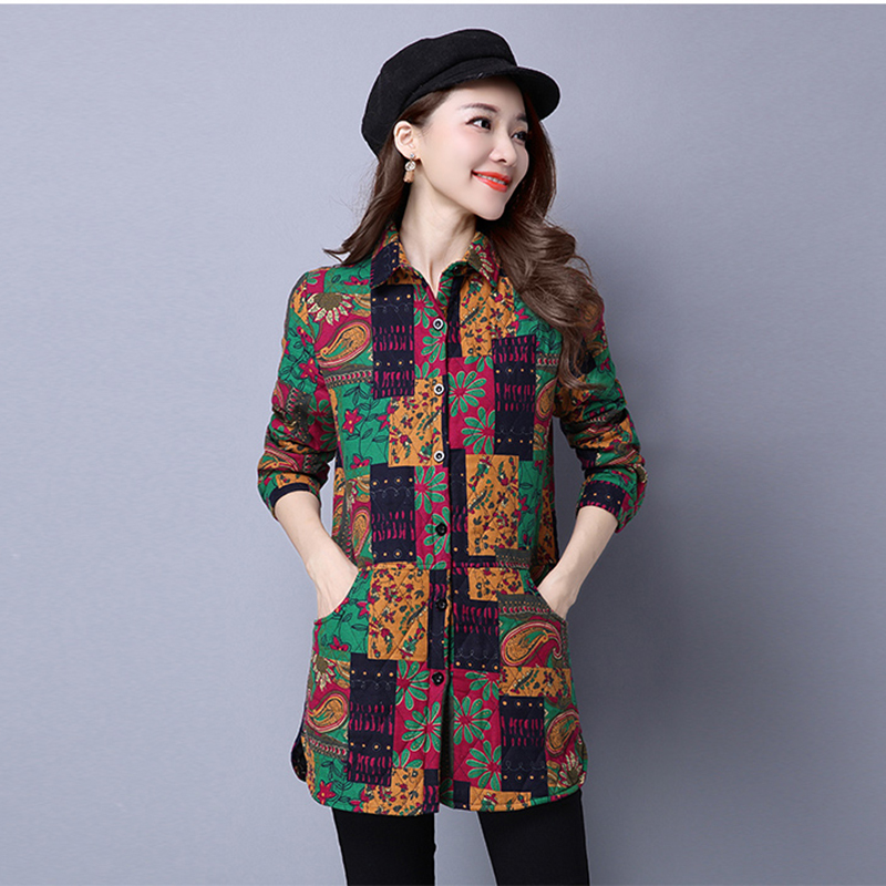 Plus Size Chinese Style New Parka Women Long Parkas Coat Long Sleeve Lapel Cotton Linen Jacket Coat Female Thick Padded Jackets linenall women parkas loose medium long slanting lapel wadded jacket outerwear female plus size vintage cotton padded jacket ym