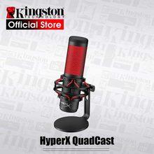 Kingston microfone eletrônico para esportes, quadcast hyperx, microfone para computador, jogos de voz