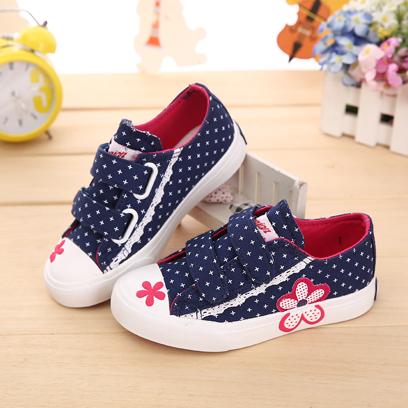 2016 Spring Girls Canvas Sport Shoes Cute Low Children
