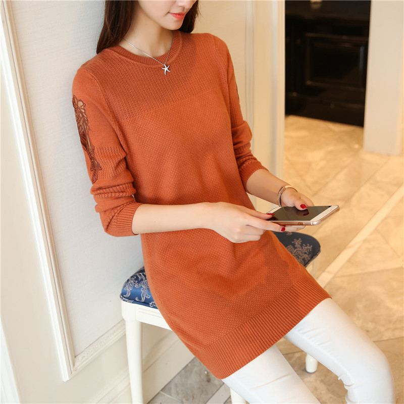 2017 autumn new Korean women's round neck sweater women's head bottoming shirt long section lace long-sleeved sweater