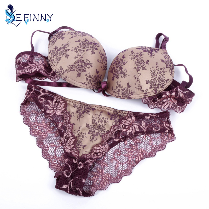Women Intimates Lady Thin Lace Floral Silk Push Up Bras + Transparent Panties 32/34/36/38 B C Underwear Sets