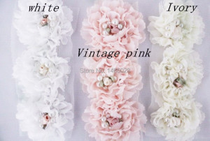 Image 3 - 120  pcs/lot ,  shabby chiffon flowers with pearl  for girls hair accessories headband accessories
