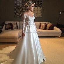 סאטן חתונה שמלת 2019 בציר קו כבוי כתף אשליה ארוך שרוולים Vestido דה Noiva תחרה Applique כלה שמלה
