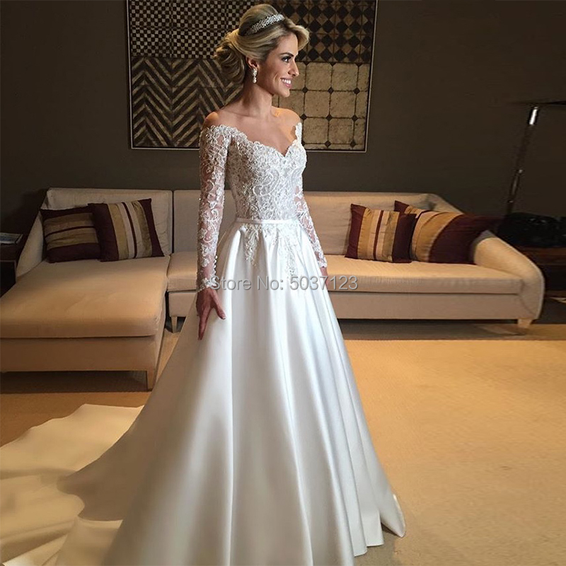 Satin Wedding Dress 2019 Vintage A Line Off The Shoulder Illusion Long Sleeves Vestido De Noiva Lace Applique Bridal Gown