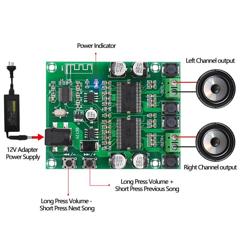 טלויזיות, פלאזמות, LCD Bluetooth מגבר מועצת Dual Core HD עיבוד HIFI Professional Edition Dual Channel 20 * 2 DIY מגברי אודיו Power דיגיטלי (4)