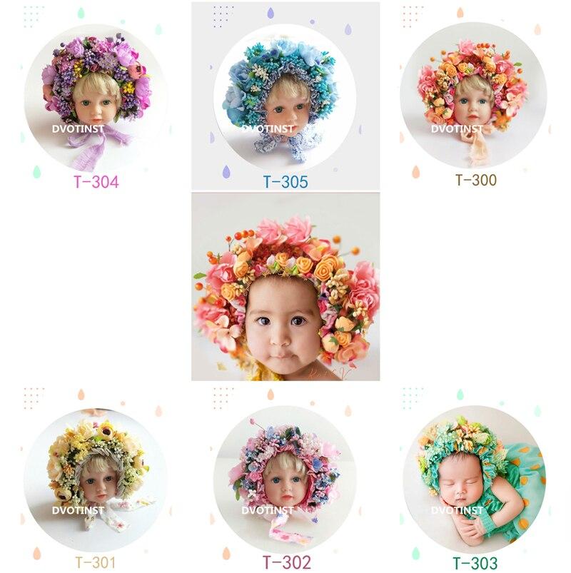Dvotinst Neugeborenen Baby Fotografie Requisiten Blumen Blumen Hut Bunte Motorhaube Fotografia Zubehör Studio Shooting Foto Requisiten