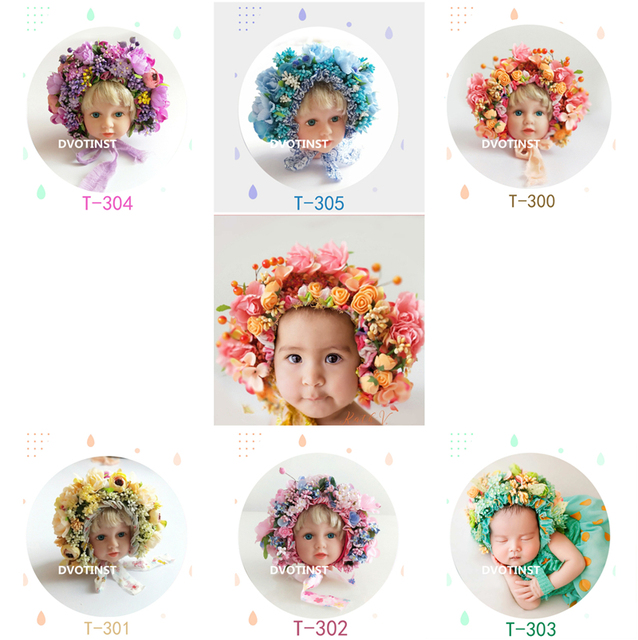 Dvotinst Newborn Baby Photography Props Flowers Florals Hat Colorful Bonnet Fotografia Accessories Studio Shooting Photo Props