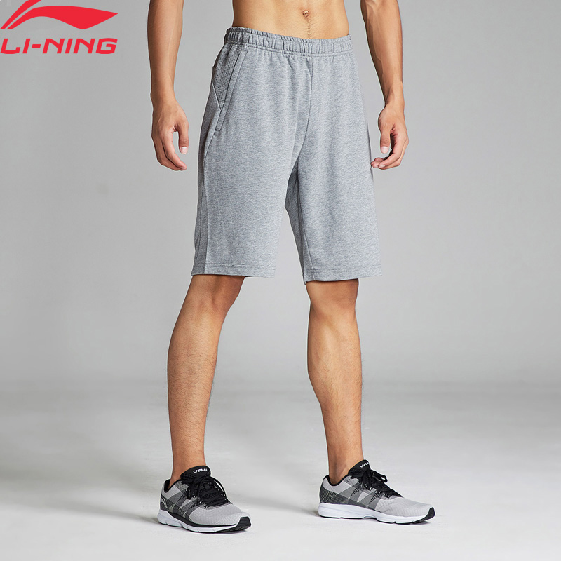 (Clearance)Li-Ning Men Training Shorts Mesh Breathable Cotton Polyester Regular Fit LiNing Sports Shorts AKSN251 MKD1568(China)