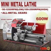 Precisão mini torno 2500 rpm 600 w máquina de torno de metal velocidade variável torno