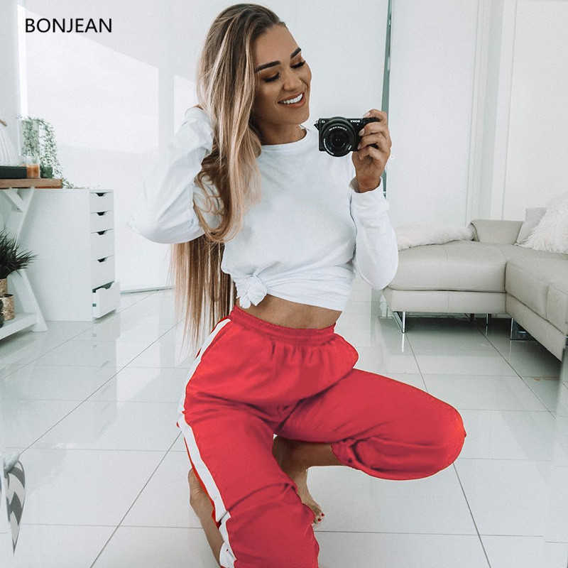 Women Pants Lulu Leggings Free Shipingeurope And The 2018 Spring Section Of New Side Bar Stripe Color High Waist Casual Pants