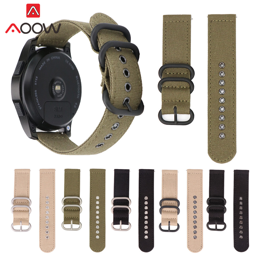 c29e293ff7 Nylon Watchband for Samsung Gear S2 S3 18mm 20mm 22mm 24mm Nato Canvas Replacement  Bracelet Band