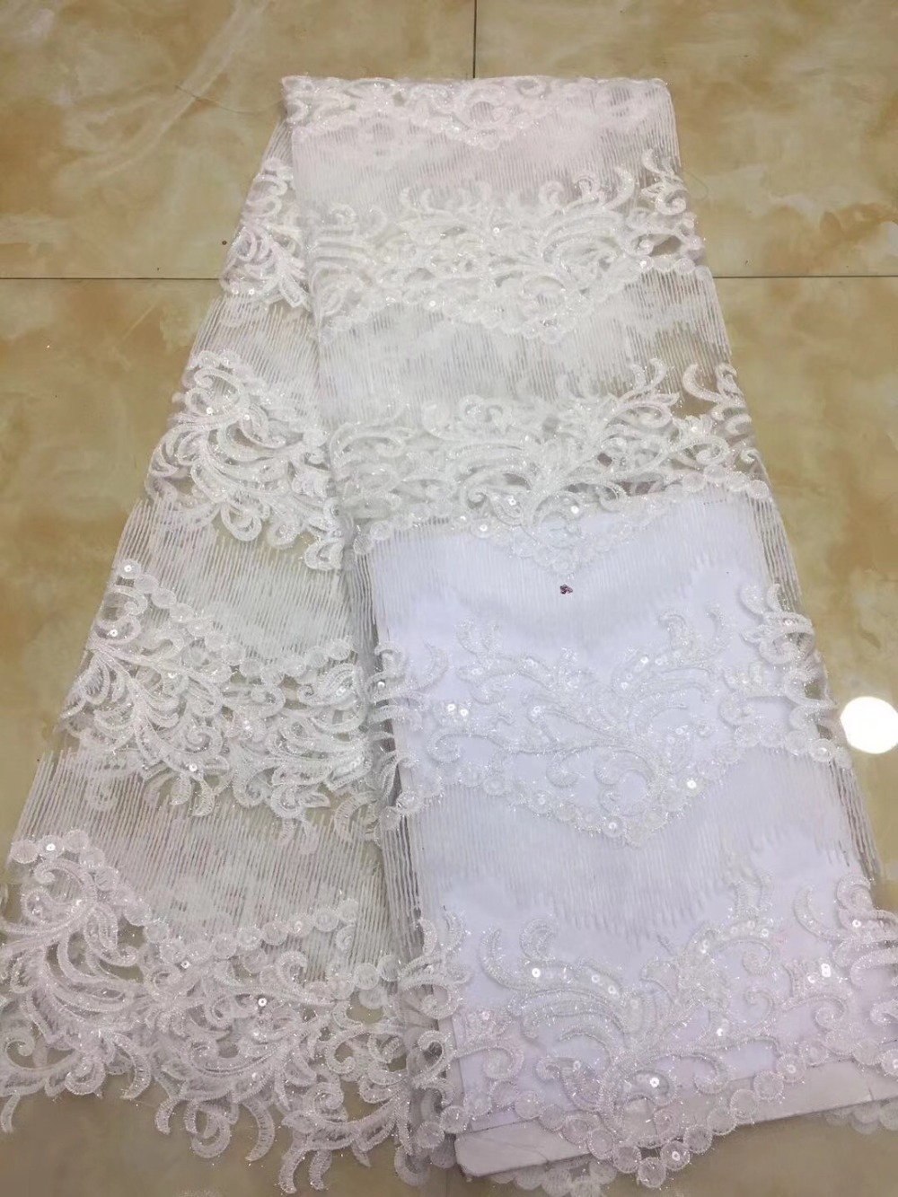 Hot sell 2018 white sequins African Swiss lace yarn the best French mesh tulle wedding dress